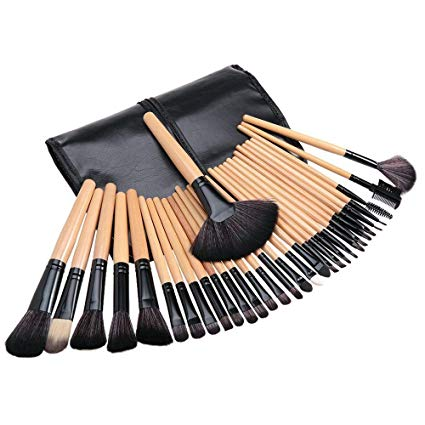 Tribecca wooden handle makeup brush set with a leather pouch